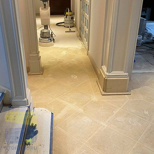 Limestone floor grout removal